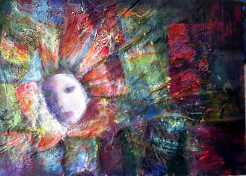 Ac non figuratif visage fleur collage peinture 0001 2 - Peinture sur visage ...